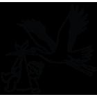 Наклейка «Аист со свертком v2»